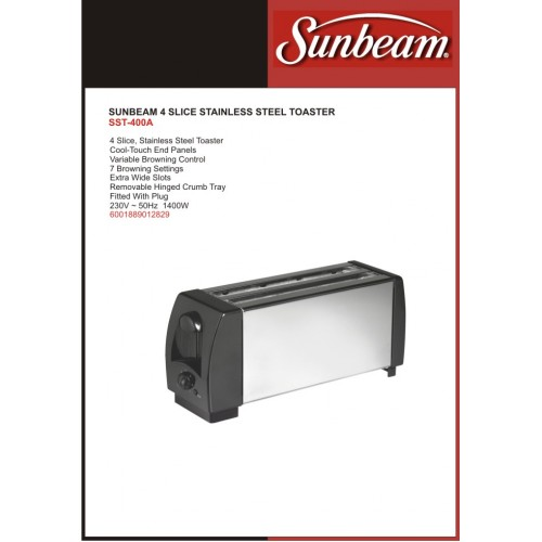 sunbeam4slicestainlesssteeltoaster