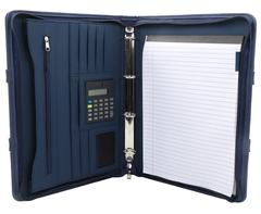 Crescent Ziparound Folder - navy