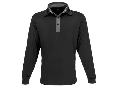 Mens Long Sleeve Pensacola Golf Shirt - black