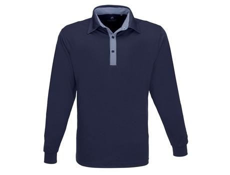 Mens Long Sleeve Pensacola Golf Shirt - navy