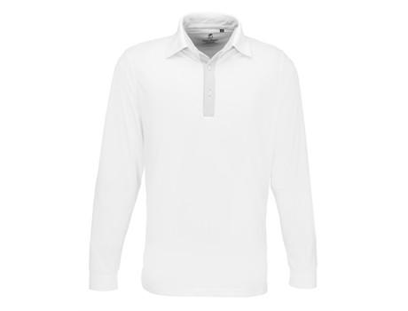 Mens Long Sleeve Pensacola Golf Shirt - white