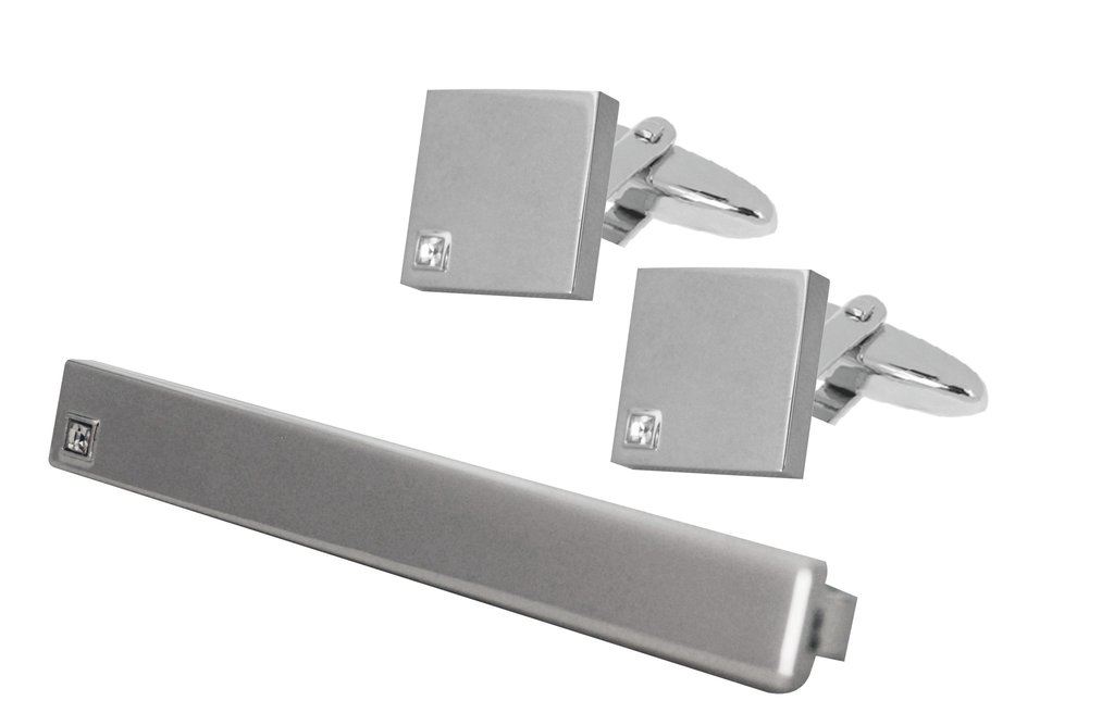 RHODIUM PLATED TIE CLIP AND SQUARE CUFFLINKS SET b