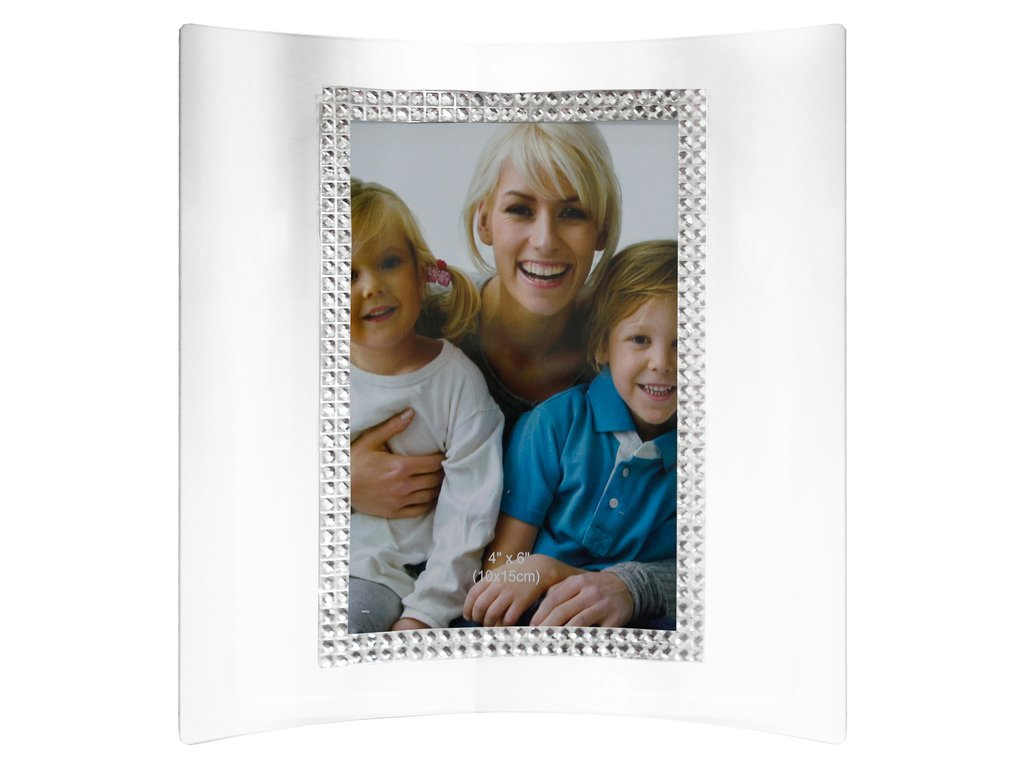 GLASS AND DIAMANTE CURVED PHOTOFRAME