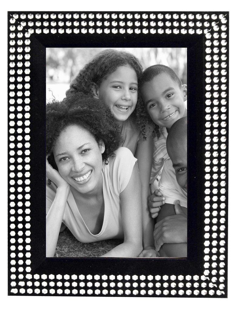 black and silver diamante photo frame