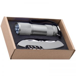GIFT SET WITH A 9LED ALUMINIUM TORCH AND A POCKET KNIFE