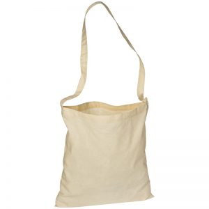 NATURAL COTTON SHOULDER BAG WITH A LONG SLING HANDLE
